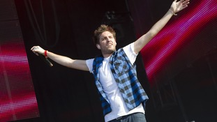Josh Franceschi of You Me at Six performing at the Coca Cola London 2012 Olympic Torch Relay concert.