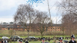 Balloons at PC Rathband's funeral