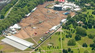 An aerial view of the Hyde Park live site.