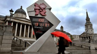 The Olympic countdown clock in Trafalgar Square, London.