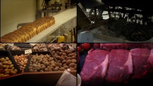 Food production lines, bread, mussels, potatoes and red meat.