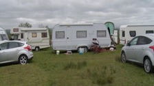Caravans at Appleby Horse Fair's campsite at Fair Hill