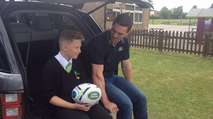 Rhys Hamber with George North from Northampton Saints