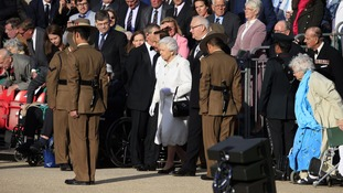 The Queen is greeted by Gurkhas