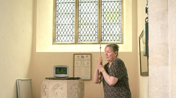 Pat Price ringing Stiffkey Church Bell 