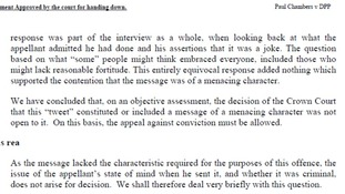 Court of Appeal judgment: Paul Chambers v Director of Public Prosecutions (Twitter joke case).