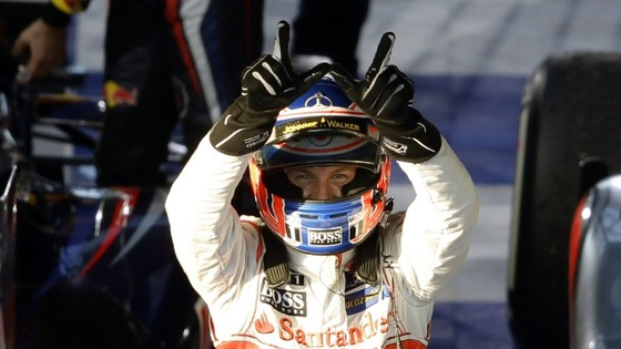 McLaren driver Jensen Button his victory celebrates after the Australian F1 Grand Prix in Melbourne