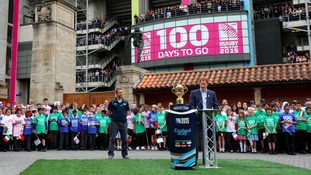 The Webb Ellis Cup at Twickenham Stadium with Jonny Wilkinson and Prince Harry (right) as part of the 100 day Rugby World Cup Trophy Tour of the UK & Ireland.