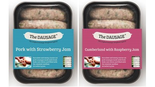 Pork or Cumberland sausage with jam dausages.