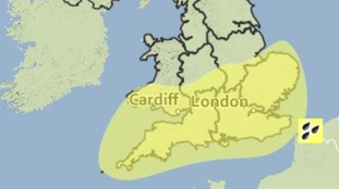 Area covered by a Met Office yellow weather warning for heavy rain on Friday night into Saturday.