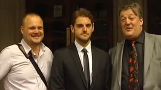 Paul Chambers (centre) alongside comedian Al Murray (left) and broadcaster Stephen Fry (right).