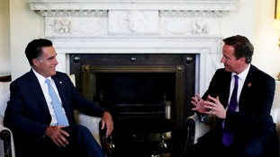 Prime Minister David Cameron meets with U.S Republican Presidential Nominee Mitt Romney in 10 Downing Street on Thursday.