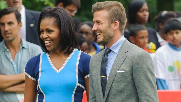 First Lady Michelle Obama and David Beckham