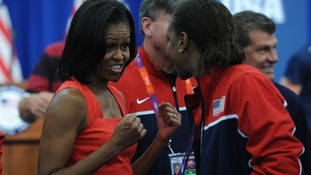 Michelle Obama meets American athletes at their Olympic base in London.