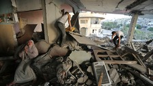 The aftermath of an airstike in Gaza