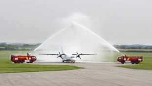 traditional water arch salute was provided by the Cambridge Airport Fire Crews