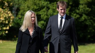 Alistair Campbell and partner Fiona Millar arrive at the church