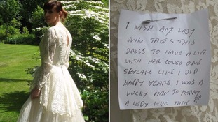 The dress was donated with a romantic note attached