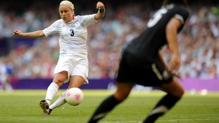 Great Britain's Stephanie Houghton scores the opening goal of their game against New Zealand.