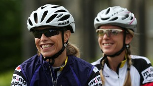 Kate McCann (left) smiles ahead of her 500-mile cycle challenge.