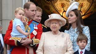 Prince George joins the family on the Buckingham Palace balcony.