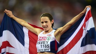 Jo Pavey celebrating winning the Women's 10000m Final at the European Championships 2014