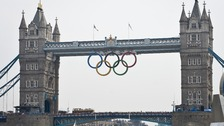 Olympic Flame arriving at Tower Bridge
