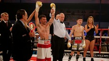 Lee Haskins celebrates beating Ryosuke Iwasa to win the Interim IBF World Bantamweight Title