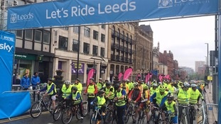 Cyclists get ready for the Leeds' Sky Ride