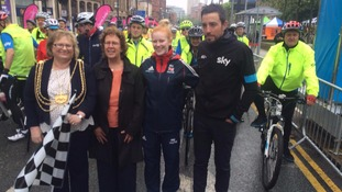 Team Sky rider Xabi Zandio and GB para-cycling star Sophie Thornhill joined Mayor Judith Chapman and council leader Judith Blake for the start of the Sky Ride