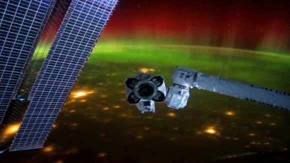 The northern lights as seen from space