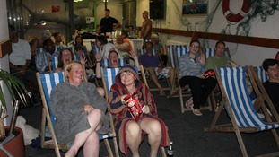 The audience watched half the film from the pool and the other half more comfortably from deck chairs.