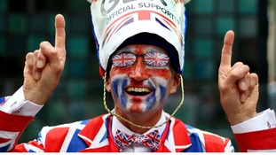 Fan arrives at the Olympic Stadium in east London