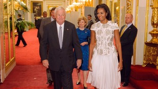 US First Lady Michelle Obama and US Ambassador Louis Susman attending a reception at Buckingham Palace
