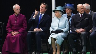 David Cameron sits alongside the Queen and other senior royals at the anniversary event