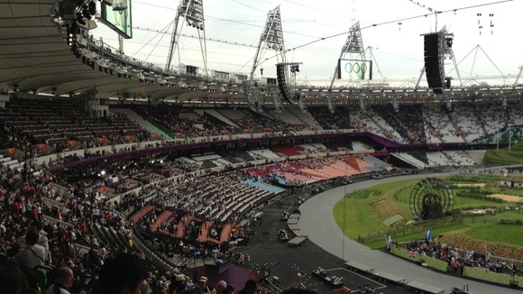 Crowds arrive at the Olympic Park