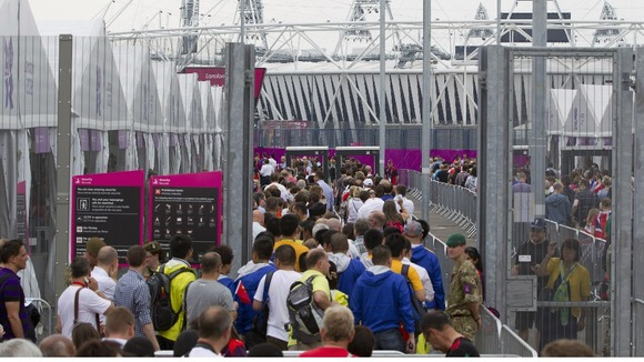 Crowds at Stratford getting into the Olympic spirit