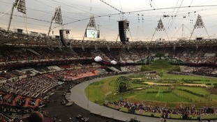 The English countryside set at the Olympic Stadium