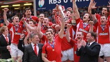 The Wales team with the Grand Slam trophy
