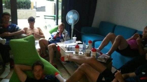 Hockey players watch Olympics Opening Ceremony