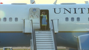 Michelle Obama arrives at Stansted Airport.