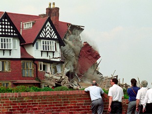 A large section of the roof and main building at the Holbeck Hall Hotel in Scarborough falls down in 1993