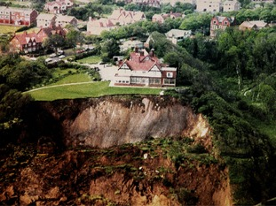 The massive landslip on the cliffs at Scarborough which left The Holbeck Hall Hotel only feet from the edge of the cliffs in 1993