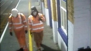 Gang who tried to steal from cashpoint after boarding up rail station 'dressed in orange suits'
