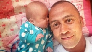 Wayne Little and daughter Daisy-Mae who was born 130 days premature.