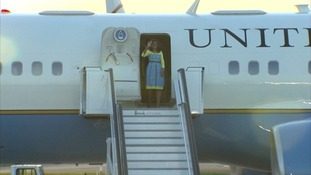 Michelle Obama arrives at Stansted Airport on Monday.