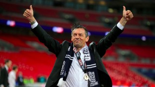 Phil Brown celebrates victory over Wycombe Wanderers at Wembley.
