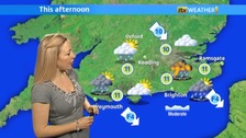 Phillippa Drew at a weather chart
