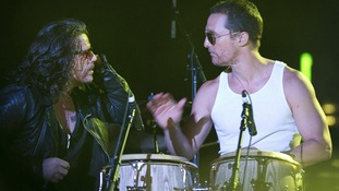 Matthew McConaughey plays the drums with Ian Astbury of The Cult
