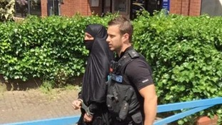 Man in niqab, carrying Peppa Pig rucksack, led away in handcuffs after bomb scare